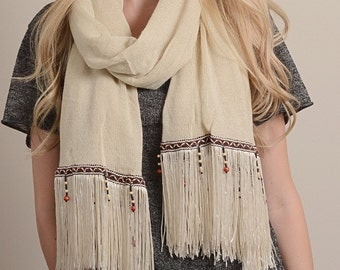 Ivory Boho Tassel Scarf, Knitted Scarf, Bohemian Scarf, Winter Scarf, Gift For Her, Christmas Gifts, For Women, Womens Scarves, Gift Idea