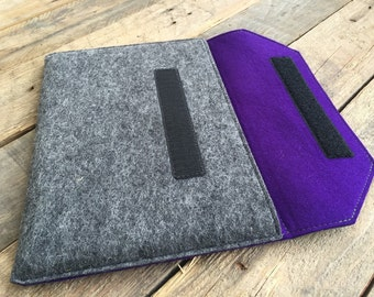 iPad Pro Case / iPad Pro Sleeve / iPad Pro Cover - Mottled Dark Grey and Dark Purple Colours - 100% Wool Felt