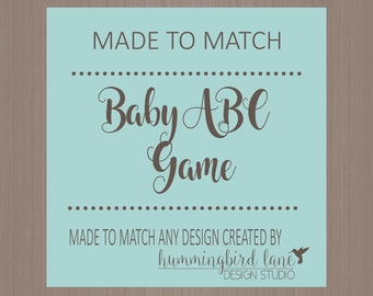 Baby ABCs Shower Game - DIY Digital or Printed, Made to Match any design, Baby Shower Games, ABC's Shower Games, Baby Shower Printables