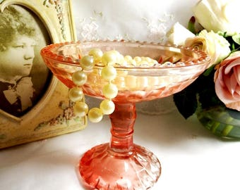 Vintage 1930s Windsor Pink Depression Glass Compote by Jeannette Glass