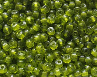 200 Green Crow Beads (Crow) Transparent size 6mm x 3mm with a 1.6mm Hole
