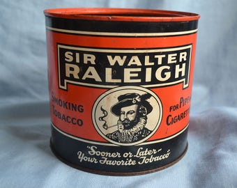 Vintage Tobacco Tin, Sir Walter Raleigh Tobacco Tin
