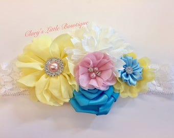 Pastel Colors Headband, Spring Headband, Yellow Blue and Pink Headband, Toddler, smash Cake Pictures