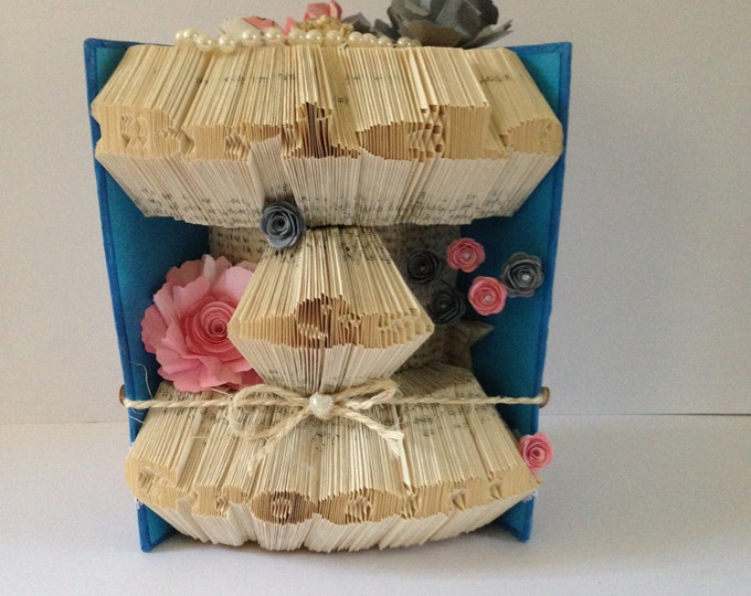 Bride & Groom Book Folding Art, Blue, Pink and Grey Wedding Centerpiece, Gift