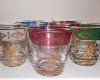 Georges Briard Glasses Old Fashioned Mid Century Barware Set Of 5