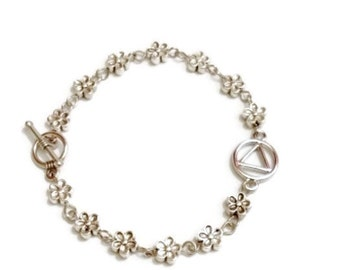 AA Flower Bracelet – Alcoholics Anonymous 12 Step Recovery