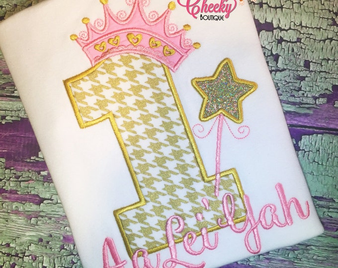 First Birthday Embroidered Shirt - Pink and Gold Birthday Shirt - Princess Birthday - Princess Crown - Tiara - Star Wand