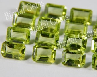 10 Pieces Peridot Octagon Faceted Cut Gemstone