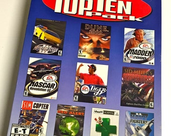Vintage Electronic Arts CD-Rom Top Ten Pack Computer Games for Windows