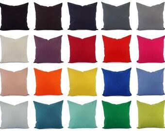 Cotton Linen Blend Pillow Cover - Solid Pillow Cover - Linen Pillow Sham - Lumbar Pillow - 16 x 16 Pillow Cover - 18 x 18 Pillow Cover