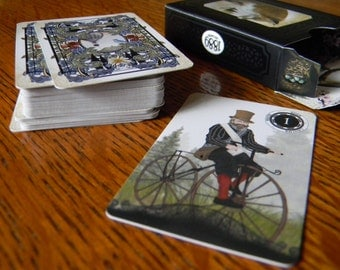 Mini 1889 Lenormand Oracle - Miniature Deck (41x63mm) 36 Cards and Keywords card