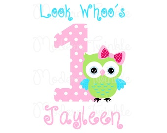 Personalized, owl birthday, Digital Image for T shirt, Printable Iron On Transfer, first birthday, owl party, custom Birthday Shirt image