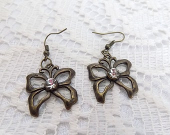 bronze tone small butterfly earrings