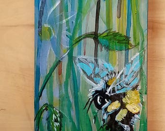 thistle flower and bumble bee painted on wood panel