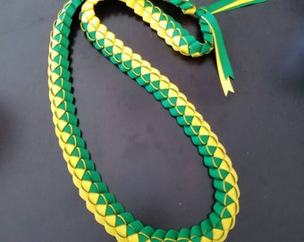Graduation Lei - Ribbon Lei - Green, Yellow - Ready to ship