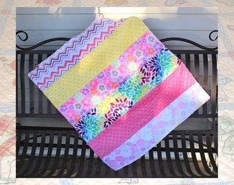 Striped Minky Minkee Baby Quilt
