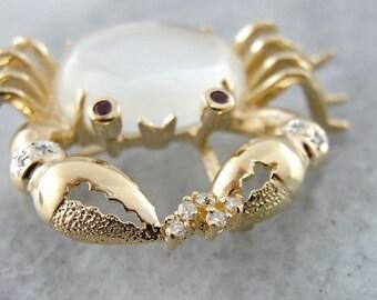 Sweet Moonstone and Diamond Crustacean Crab Brooch 6PNJ5F-N