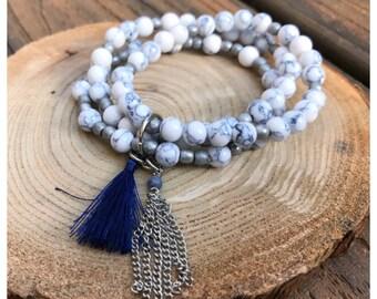 White Marble Beaded Tassel Bracelet Set/ White Howlite Bracelet