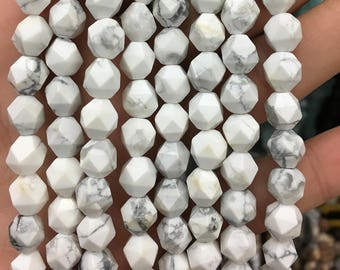 Natural Howlite Stone Beads, White Gemstone Beads, Nugget Faceted Beads, Semi Precious Beads For Jewelry Making 8mm 10mm 12mm