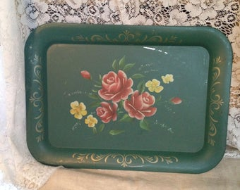 Beautiful Hand Painted Teal Rose and Yellow Serving Tray or Hang with a grouping of Trays