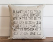 Be Happy 20 x 20 Pillow Cover // Everyday // Throw Pillow // Gift // Accent Pillow // Cushion Cover