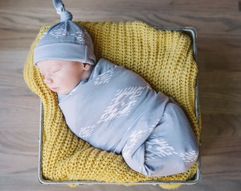 Desert Moon Swaddle Blanket and Hat Set / Knit Swaddle