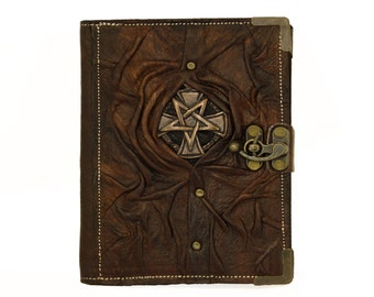 Star Cross Pendant on a Brown Refillable Leather Journal / Notebook / Handmade