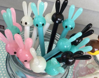3 pack Long Earred Kawaii bunny Pens, Kawaii Gel pens, Kawaii novelty gel pens, Journaling Pens, Black ink gel Pens,Kawaii Bunny Pens,