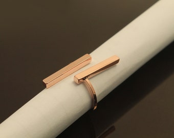 Geometric ring, T27-P1, 1 pcs, Inner diameter 17mm, Wire 1.5mm thick, Stick 20mm, Rose gold ...