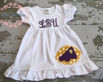 LSU Dress, Purple and Gold Dress, Girls Dress