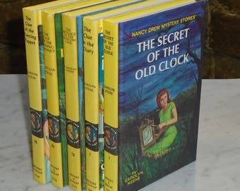 5 Vintage HC Nancy Drew Mystery Stories -1 7 12 26 39 ~ Cameo End Pages
