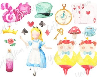 Alice in the Wonderland Watercolor Clipart Digital Disney tea party Download decoration digital kids birthday invitation printable print