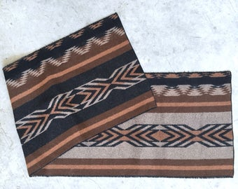 Woven wool striped table runner / brown, cocoa, terra cotta