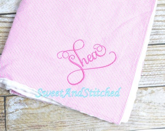 Personalized Pink Seersucker and Minky Dot Baby Blanket, Seersucker blankets, pink purple and blue, minky dot monogrammed baby gift