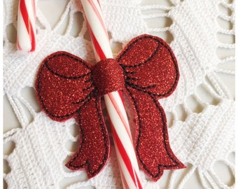 Christmas Candy Cane Holder Machine Embroidery Candy Cane Bow - Machine Embroidery Instant Download Design