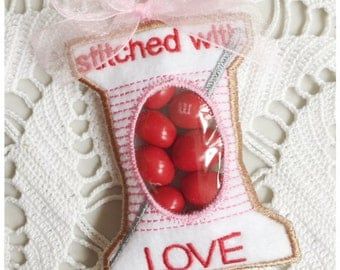Stitched with Love Spool of Thread Candy Holder - Machine Embroidery Instant Download Design