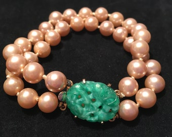 Stunning Signed Marvella Double Strand Faux Pearl With Carved Jade Colored Glass Clasp Bracelet