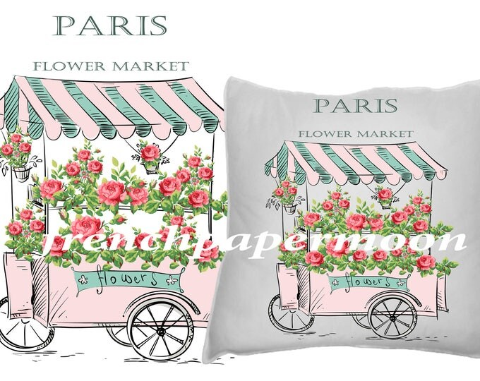 Digital Paris Flower Market, French Flower Market Transfer, Shabby Chic Roses, French Typography, French pillow Image