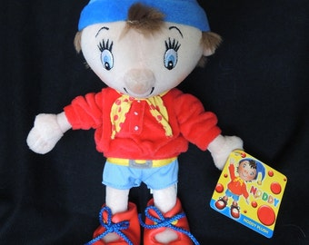 Noddy Plush Toy - New Vintage Condition - Never Played With - Label attached - Rare Fun!