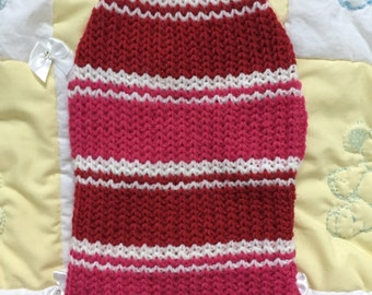 Pink,red and white stripy pet sweater