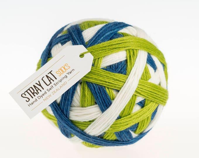 AOTEAROA - vibrant hand dyed self striping sock yarn