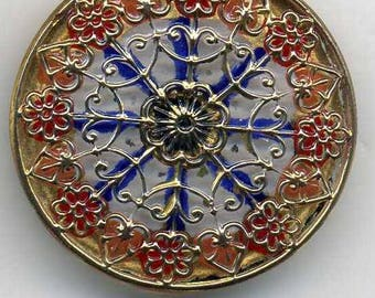 Czech glass button gold, red and blue  - size 14, 31.5 mm FCB 1230