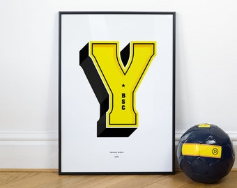 Y is for Young Boys, Football Typography Print