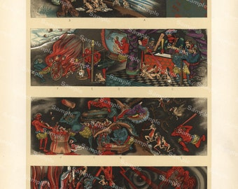 Japanese decorative art original color lithograph print of Demons magic ghosts dragons dates 1887 large size profile
