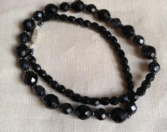 1950's black glass necklace.