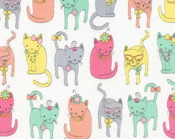 Pastel Dressy Cats On White Background With Glasses Etc,100% Cotton Fabric