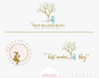 Girl Reading Logo -Premade Photography Logo and Watermark, Classic Elegant Script Font GOLD GLITTER TREE branding pack Logo