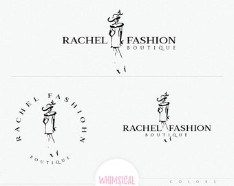 Fashion Sketch Model 2 - Fashion illustration - sketchy logo style - Pretty women wearing dress and hat