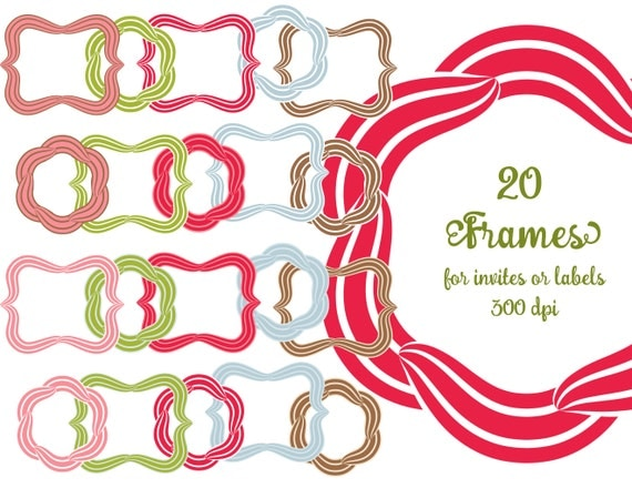 Bracket Frames, Flower Shape Frames, Photoshop clip art, striped outlines, red green pink blue brown, for invites, for labels