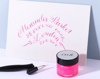 Neon Pink Calligraphy  Ink